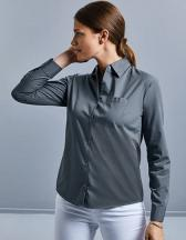 Ladies` Long Sleeve Polycotton Poplin Shirt