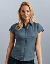 Ladies` Cap Sleeve Polycotton Fitted Poplin Shirt