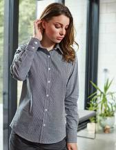 Ladies` Microcheck (Gingham) Long Sleeve Shirt